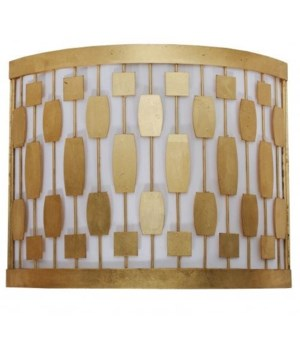 Gold Leaf Mid Century Motif Sconce with White Inner Shade