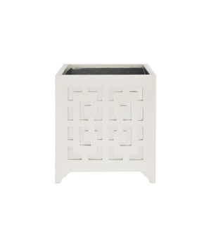 Greek Key Motif Planter with Mirror in White