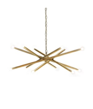 Modern 12 Light Chandelier in Antique Brass