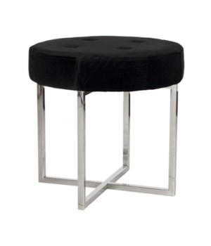 Black Velvet Round Stool with Nickel Base