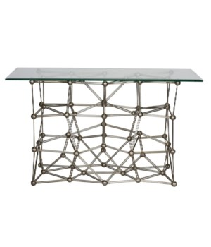 Silver Leaf Iron Console Table with Rect Glass Top
