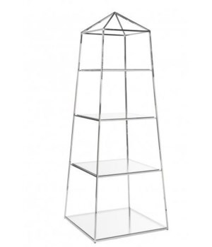 Nickel Obelisk Etagere w Glass Shelves