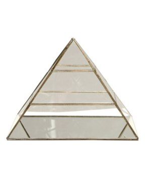 Large Clear Glass and Brass Pyramid Box