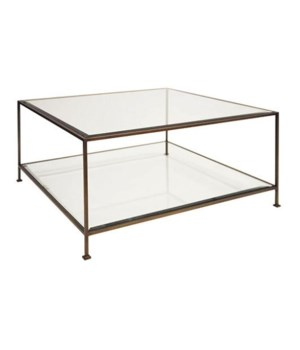 Bronze Square Coffee Table with Beveled Glass
