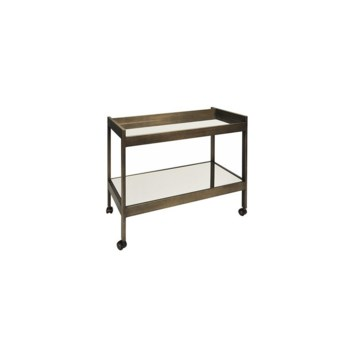 Bronze and Mirrored Bar Cart with Bronze Casters