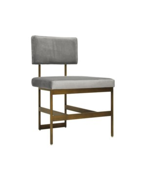 Modern Bronze Dining Chair with Grey Velvet
