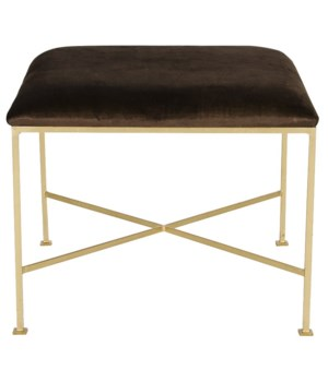 Large Gold Leaf Stool Brown Velvet