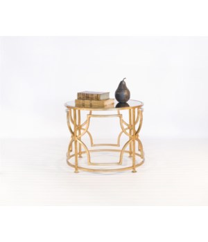 Gold Leafed Round Cocktail Table