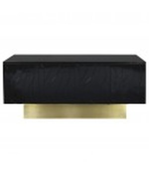 Black Lacquer Wave Detail Console w Brushed Brass Base