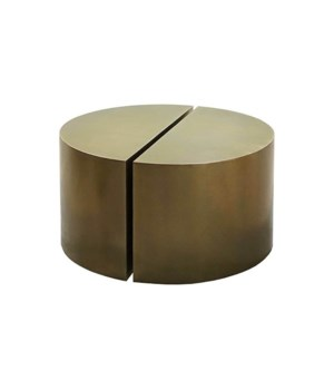 Pair of Modern Semi Circle Tables in Antique Brass