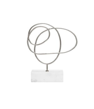 Silver Abstract Doodle Sculpture with White Marble Base