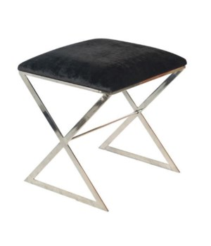 """X"" Stool, Nickel with Black Velvet"