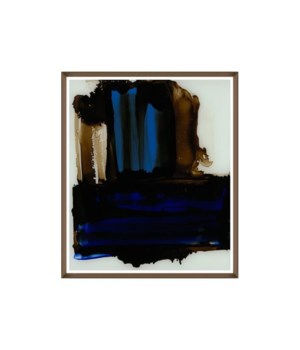 30x35 Cobalt Brushstrokes, Glass Framed, Frame 36PUP2655