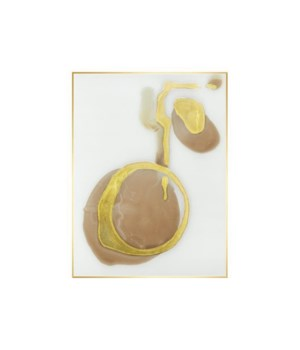 30x40 Blush Orb with gold I, Hand Embellishment Glaze, Frame 36P1707