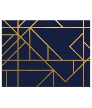 40x30 Gold Navy and Lines III, Plexi