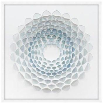 34x34 Aqua Bloom I, Glass Framed Origami, 36PUN1531
