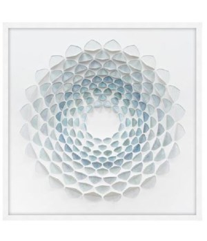 34x34 Aqua Bloom I, Glass Framed Origami, 36PUN1531