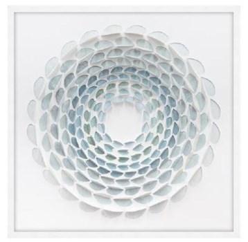 34x34 Aqua Bloom II, Glass Framed Origami, 36PUN1531