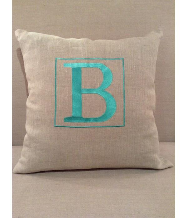 Natural Linen w Blue B Pillow