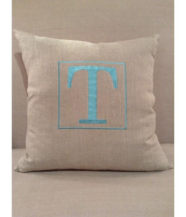 Natural Linen w Blue T Pillow