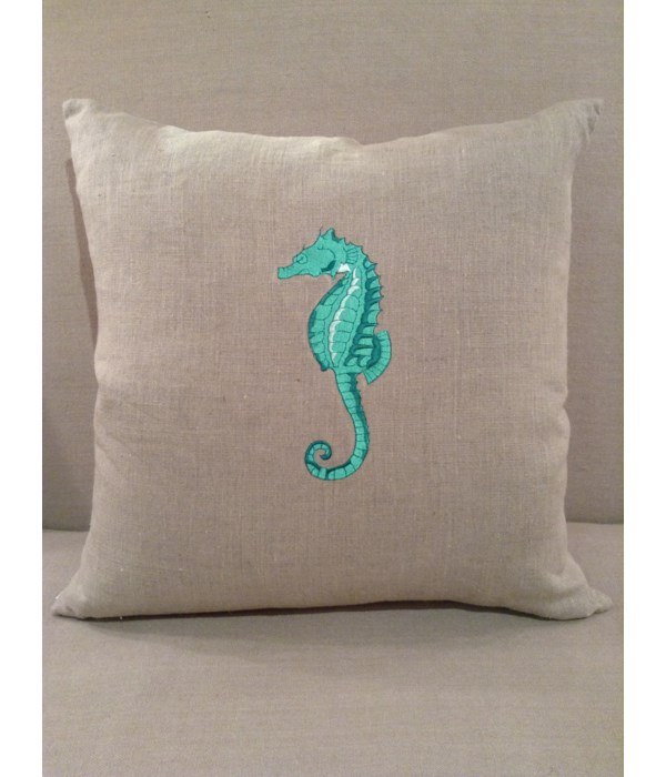 Natural Linen w Teal Seahorse