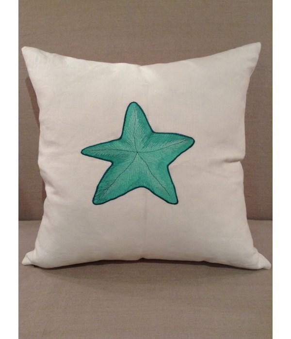 White Linen w Teal Starfish Pillow