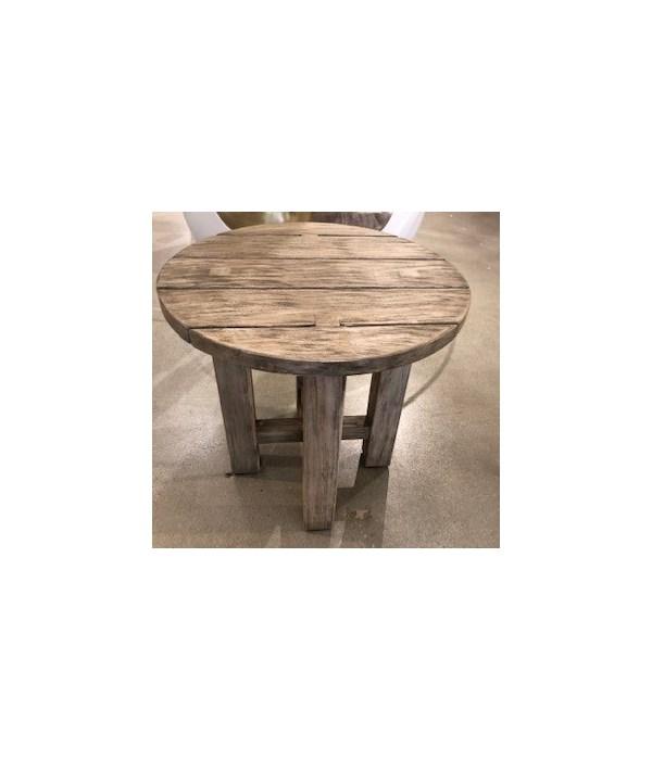 Croquet Teak End Table, Oyster Teak