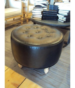 Ottoman-Button Tufted-Unfinished Turned Wood Leg-Capri Black Leather