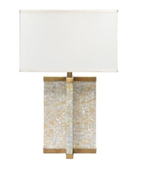Axis Table Lamp in Mother of Pearl w Md Rect Shade in Cream Silk