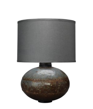 Caisson Table Lamp, Gun Metal with Classic Drum Shade