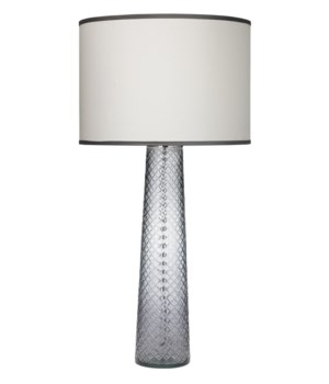 Cut Glass Pillar Table Lamp in Grey Cut Glass w Lg Drum Shade in White Silk w Granite Trim