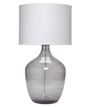 Plum Jar Table Lamp, Extra Lg in Grey Glass w Lg Drum Shade in White Linen
