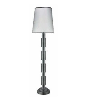 Quinn Floor Lamp in Antique Silver w Tall Cone Shade