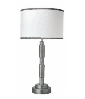 Quinn Table Lamp in Antique Silver w Md Drum Shade