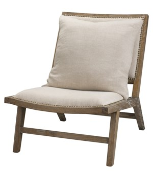 Baldwin Chair in Grey Wood and Off White Linen
