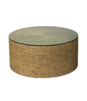 Harbor Natural Seagrass Coffee Table with Tempered Glass Top