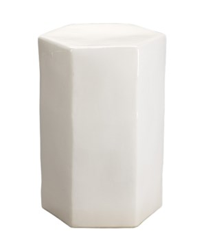 Lg Porto White Ceramic Hex Side Table
