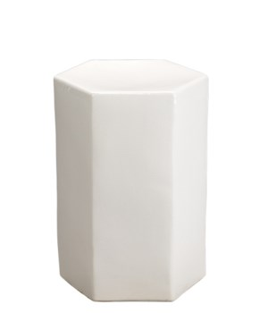 Sm Porto White Ceramic Hex Side Table
