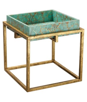 Shelby Tray Table in Turquoise Pebble and Gold Lacquer