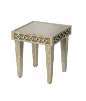 St. John Side Table in Washed Wood and Natural Linen
