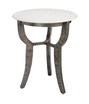 Villa Side Table with White Marble Top