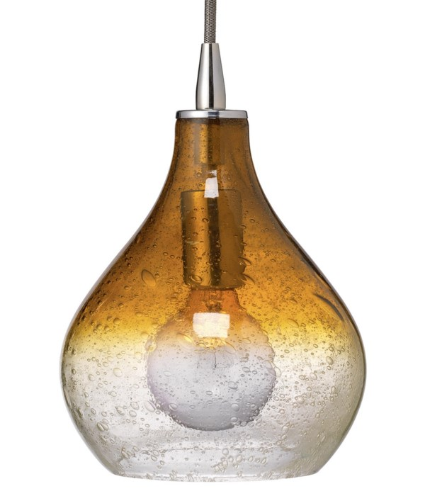 Sm Curved Pendant in Amber Gradient Seeded Glass