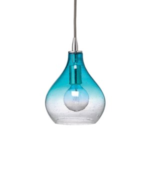 Sm Curved Pendant in Aqua Gradient Seeded Glass