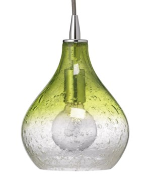 Sm Curved Pendant in Green and Clear Seeded Glass
