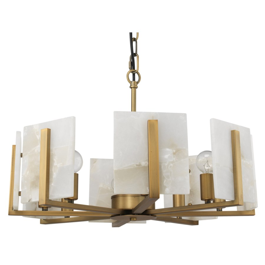 Halo Chandelier in Brass and Alabaster