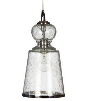Long Lafitte Pendant in Clear Seeded Glass