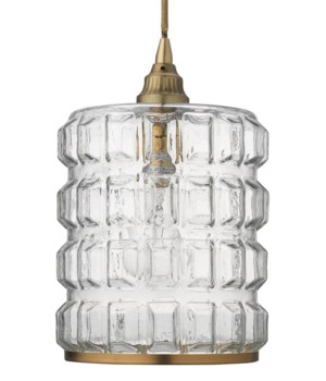 Madison Pendant in Clear Glass and Antique Brass
