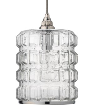 Madison Pendant in Clear Glass and Nickel