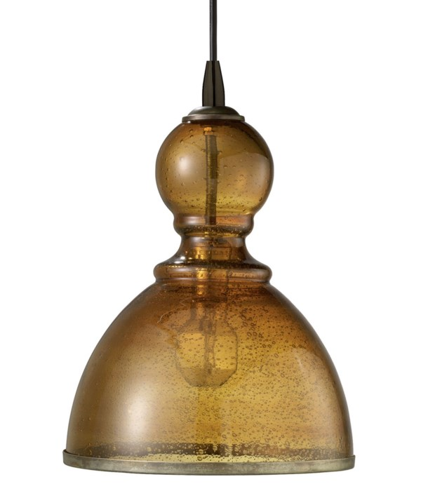 Lg St. Charles Pendant in Amber Seeded Glass
