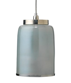 Md Vapor Pendant in Opal Metallic Glass with Nickel Hardware